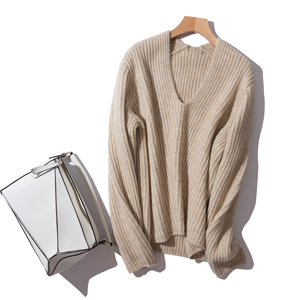2021 Autumn Winter Wool Blend Casual Sweater Thick  V Neck Loose Pullover Cardigan enlarge