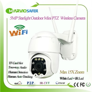 5MP Colorful Night Vision Outdoor Wireless Mini IP PTZ Network Camera 5X Zoom 2.7-13.5mm Lens Onvif RTSP Two-Way Audio TF Card