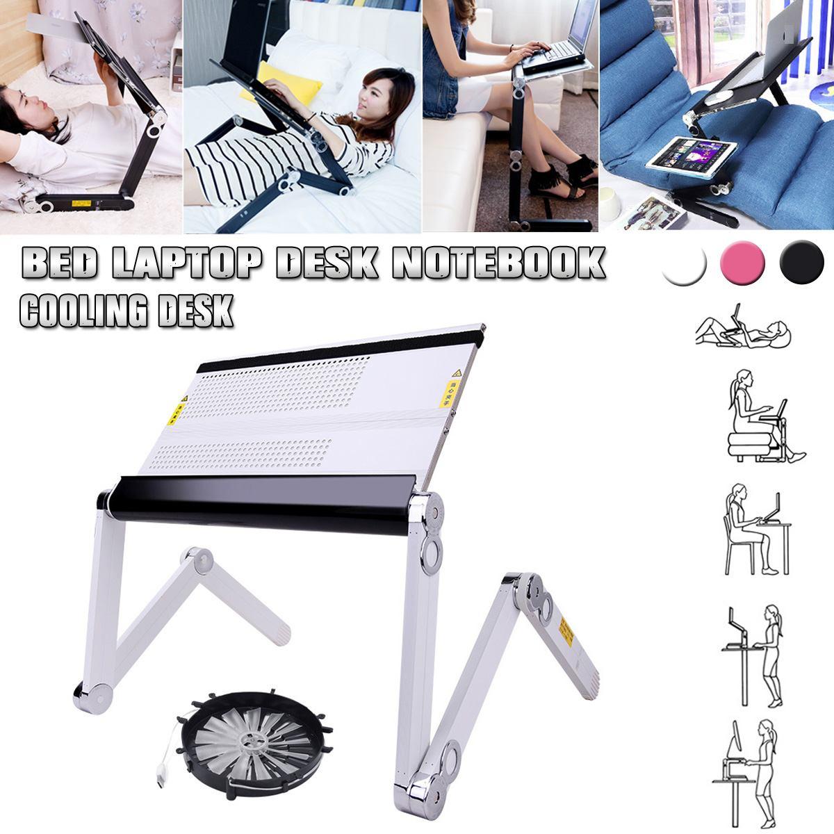 360 درجة قابل للتعديل دفتر مناسبة مع مروحة التبريد للطي لاب توب محمول مكتب الجدول حامل صينية للنوم وأريكة
