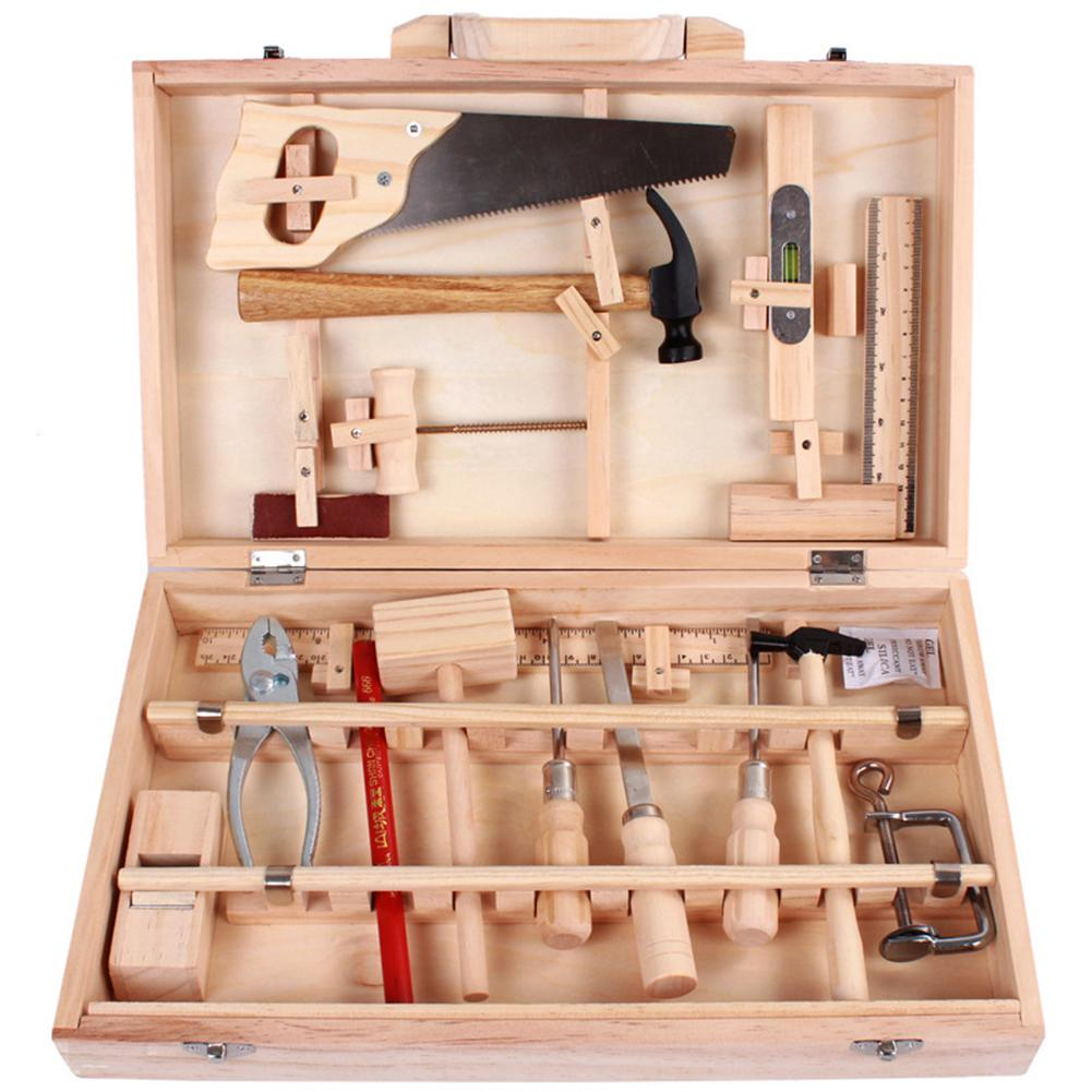 Caixa de reparo de brinquedos para crianças, caixa de madeira multifuncional para desmontagem, conjunto real de ferramentas de madeira brinquedo de casa