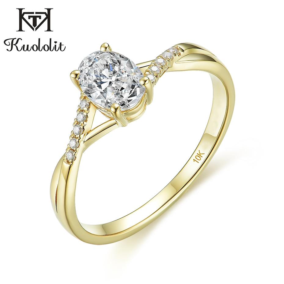 Kuololit sólido 10K oro amarillo Natural anillos moissanite para las mujeres 1Ct Oval D color Solitaire anillo para compromiso fiesta