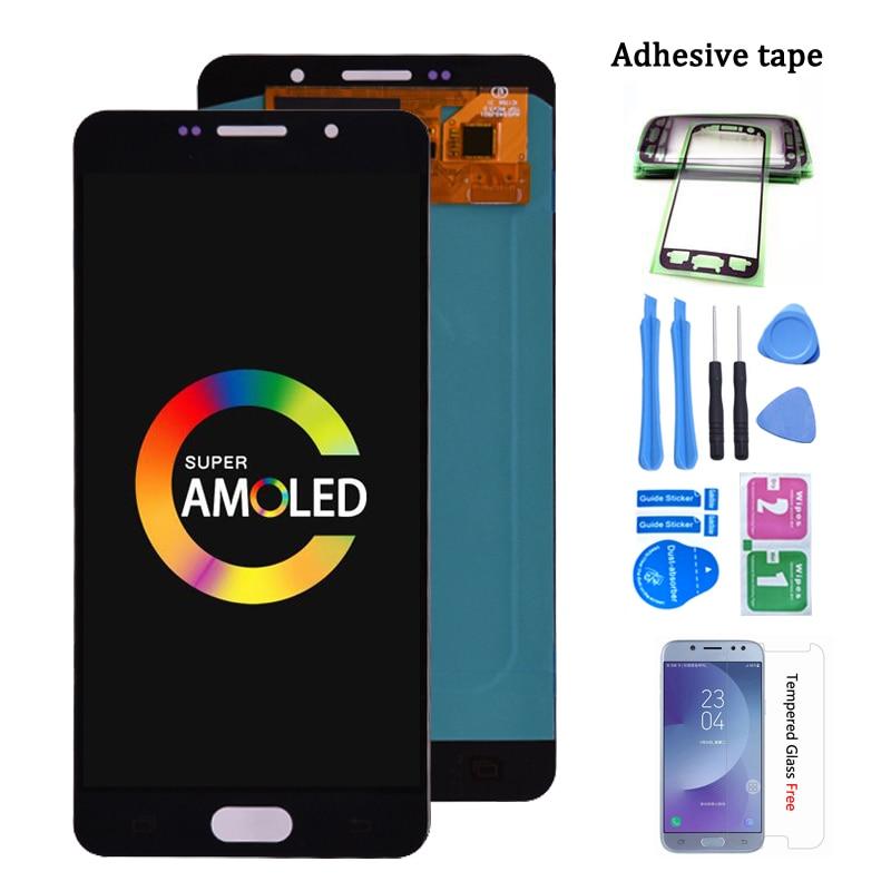 سوبر أموليد لسامسونج غالاكسي A7 2016 A710 A710F شاشة LCD تعمل باللمس محول الأرقام الجمعية