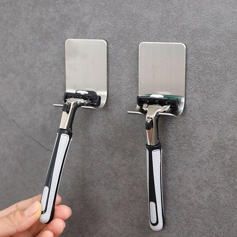 AliExpress - 2Pcs/set Useful Bathroom Punch Free Razor Holder Storage Hook Wall Men Shaving Shaver Shelf Bathroom Razor Rack Holder Silver