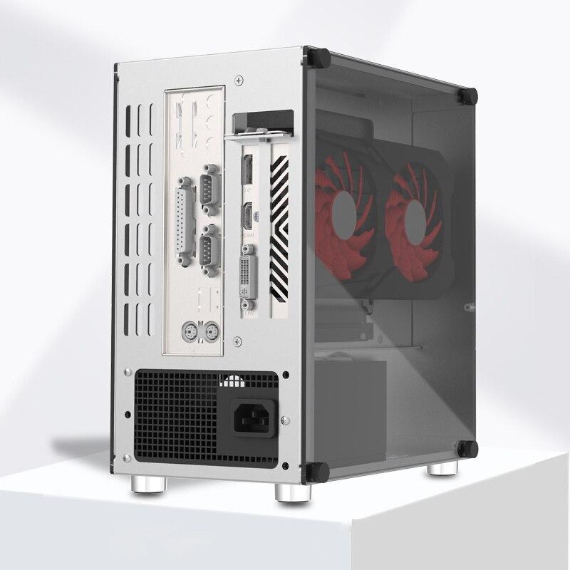 Mini ITX كمبيوتر ألعاب حافظة ألومنيوم حاسوب شخصي مكتبي زجاج مقسى هيكل فارغ دعم SFX/SFX-L Power