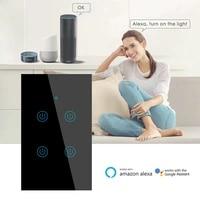 Interrupteur tactile intelligent Zigbee  1 a 4 gangs  pour Tuya Smart Life  application de controle  bouton mural pour Alexa et Google Home Assistant Smart Homekit