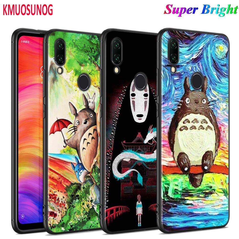 Funda de silicona negra Anime Totoro Ghibli Spirited para Xiaomi Redmi Note 8 7 6 5 4X 4 K20 Pro 7A 6A 6 S2 5A Plus