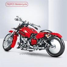 782Pcs Harley Motorcycle Model Technic Building Blocks Off Road Moto Racing Motorbike Vehicle Bricks Playmobil Toys for Children