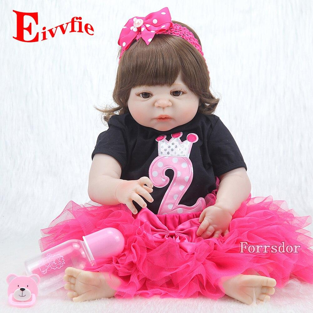 57CM cuerpo completo suave silicona niñas Reborn Baby Doll bañarse juguetes realista princesa niña muñecas bebé Real renacido boneca Menina