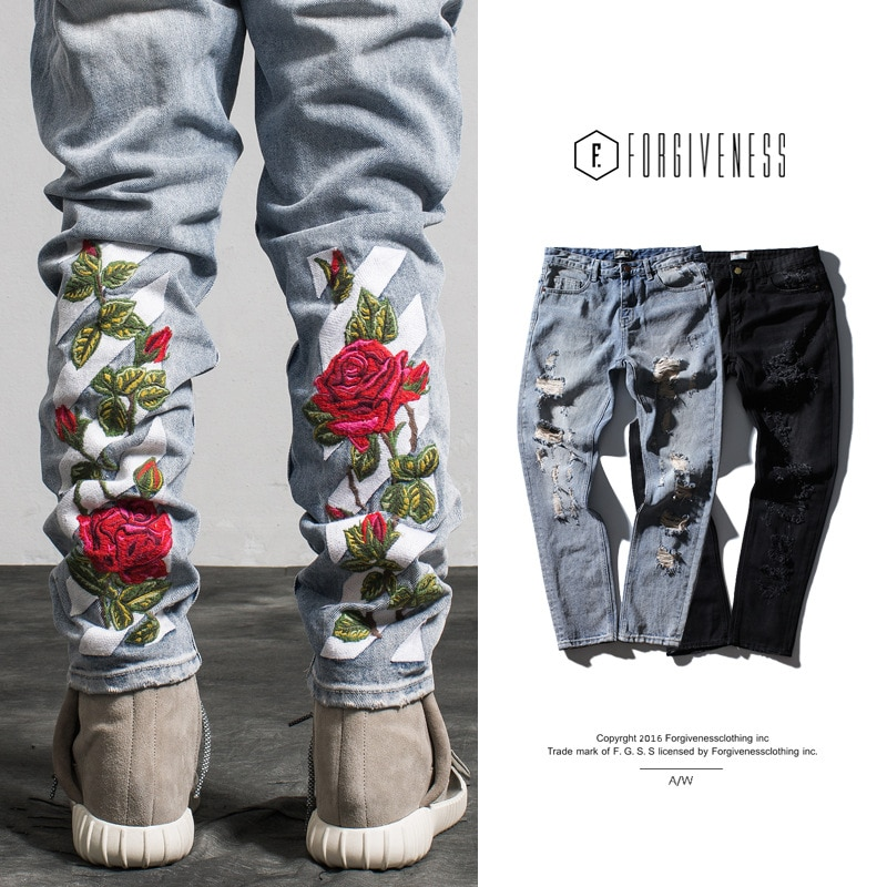 Мужские брюки, новинка 2021, модные брендовые джинсы, Мужские Прямые рваные джинсы с вышивкой в стиле хип-хоп, яркая модель