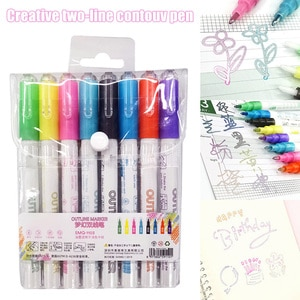 New 8 Color Double Line Outline Pen Double Colors Marker Pen for Card Writing Drawing DOM668