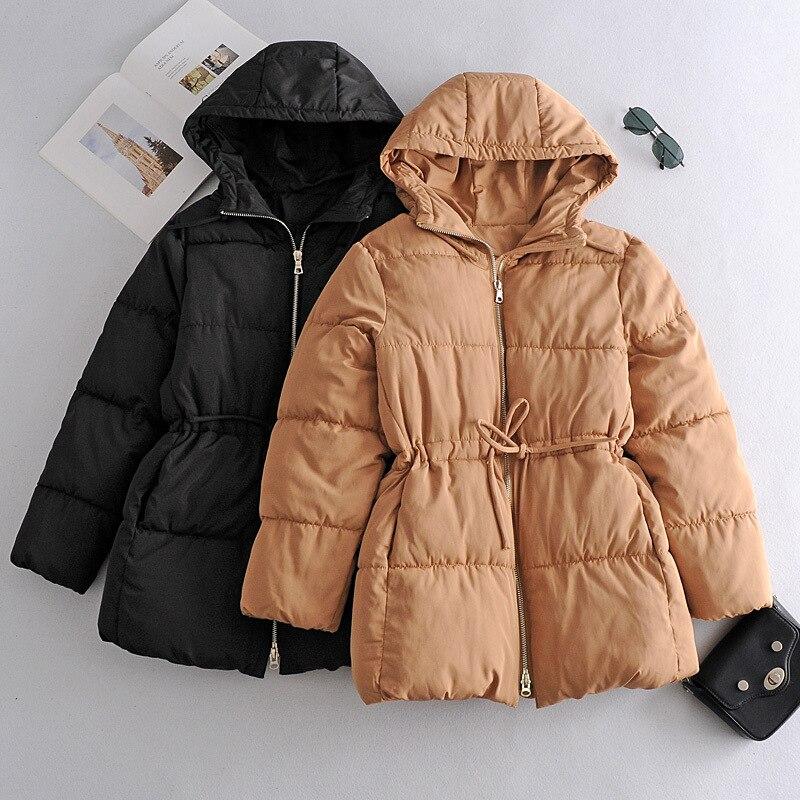 جديد خريف وشتاء 2021 للنساء معطف طويل وسحاب غير رسمي مع قلنسوة لون سادة للوسط للسيدات معطف أنيق مناسب لجميع الأعمار