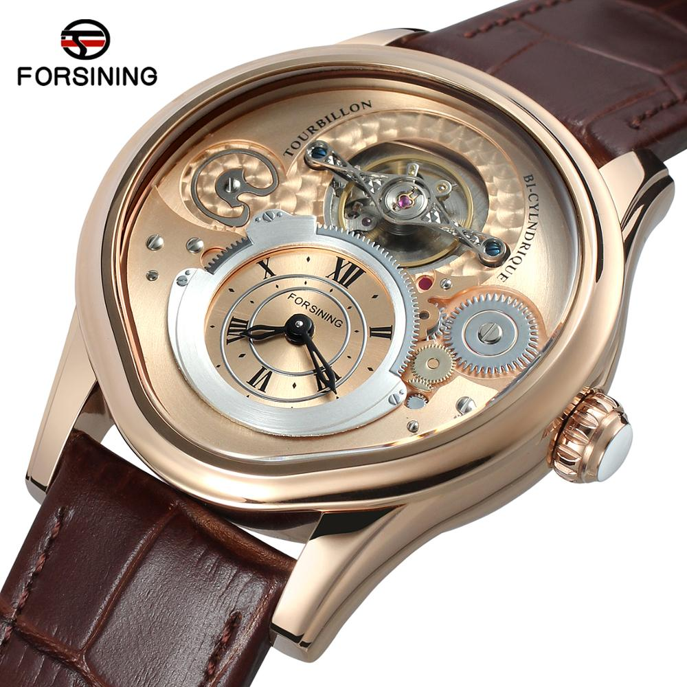 Forsining marca luminosa ouro tourbillion design 316 aço completo genuíno couro masculino relógio mecânico montre homme