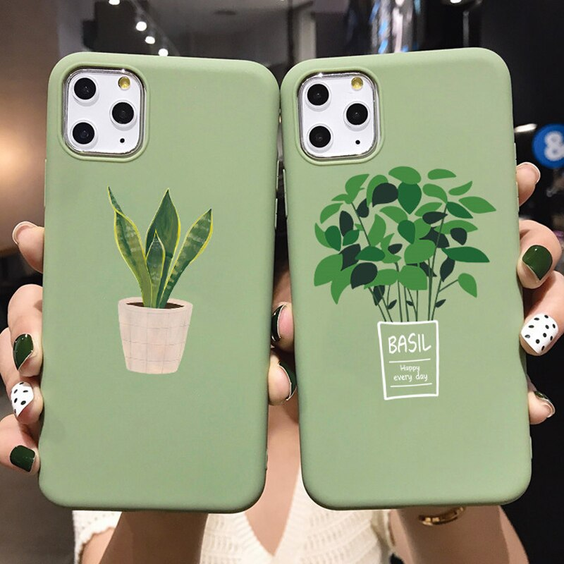 Funda de teléfono de hoja de planta verde para iPhone 11 Pro X XS Max XR 10 fundas para iPhone 6 s 7 6S 8 Plus 5 5S SE 2020 cubierta de TPU suave