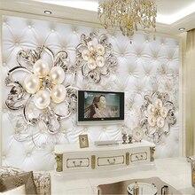 Beibehang مخصص كبير جدار الرسام مع جميل الأوروبي لينة حقيبة ثلاثية الأبعاد ثلاثية الأبعاد لؤلؤة زهرة التلفزيون حائط الخلفية