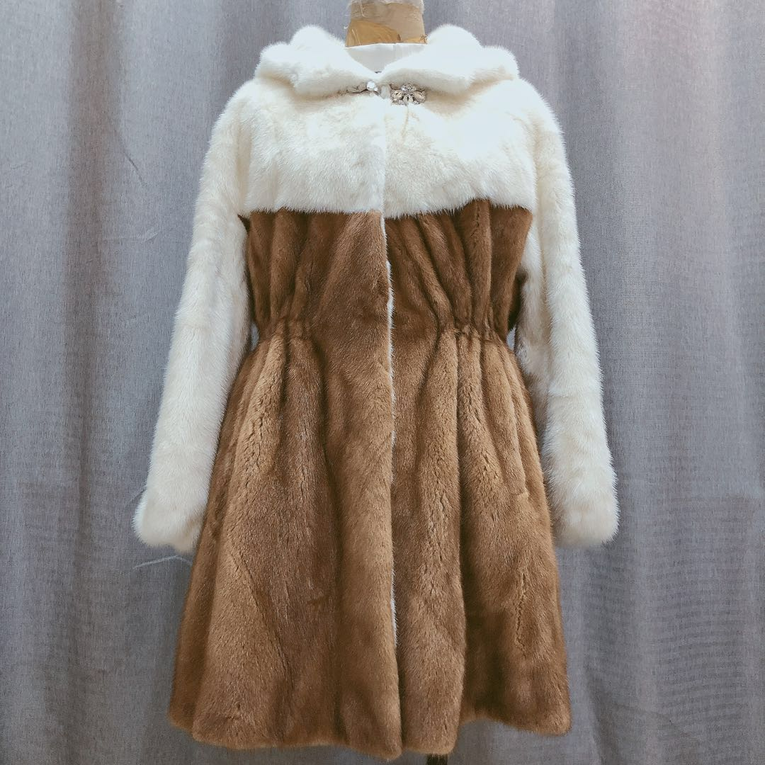 Abrigo largo de piel de visón Real para mujer otoño invierno abrigo de piel de visón