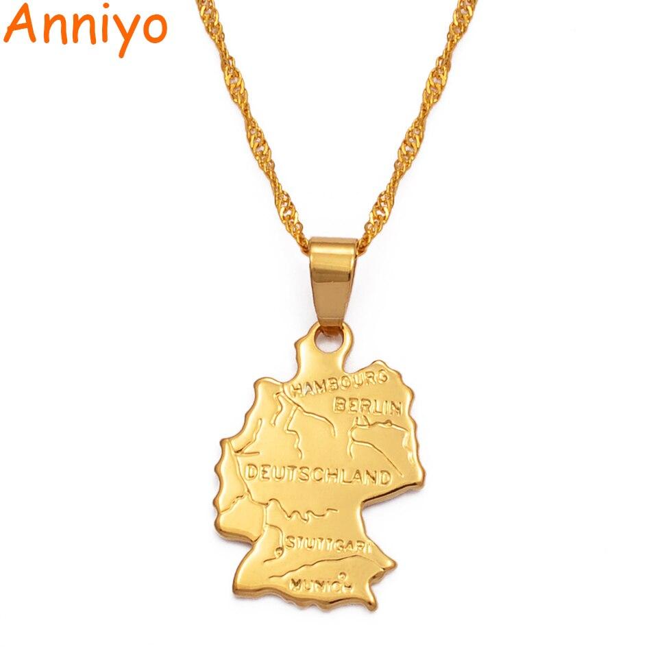 Anniyo mapa de deutschland colar pingentes 45 cm/60 cm corrente para mulher cor de ouro jóias alemanha mapa alemão #007710