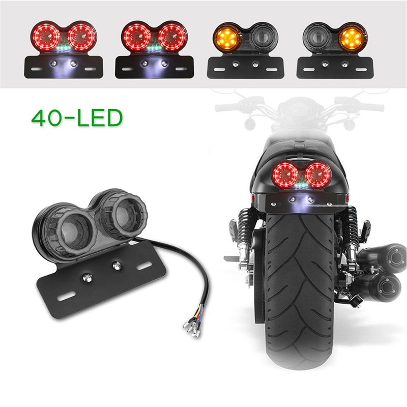 Luz trasera doble Universal para motocicleta, luz trasera LED para motocicleta, luz trasera de señal de giro para motocicleta, luz de soporte de matrícula para freno