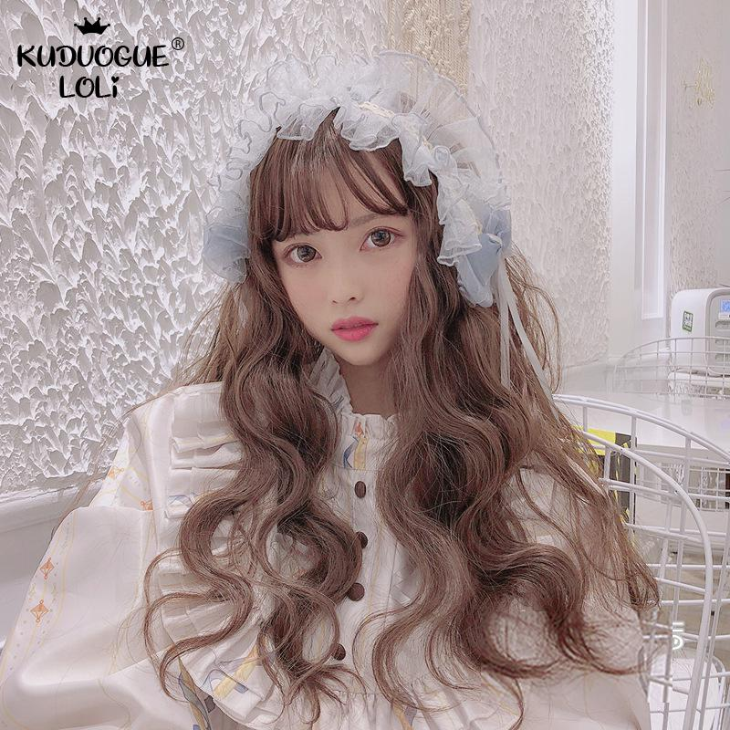 Cosplay salón Harajuku Lolita pelucas onduladas 58cm gótico diario Kawaii lindo rizado sintético largo Cosplay del pelo Color Chocolate peluca + tapa