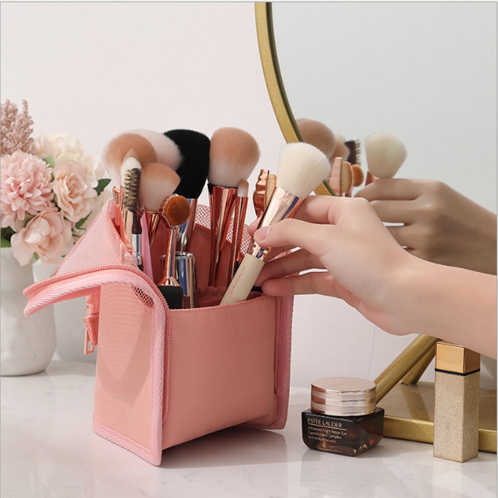 Saco de armazenamento cosmético maquiagem escova balde tubo de armazenamento batom sobrancelha lápis portátil saco de armazenamento