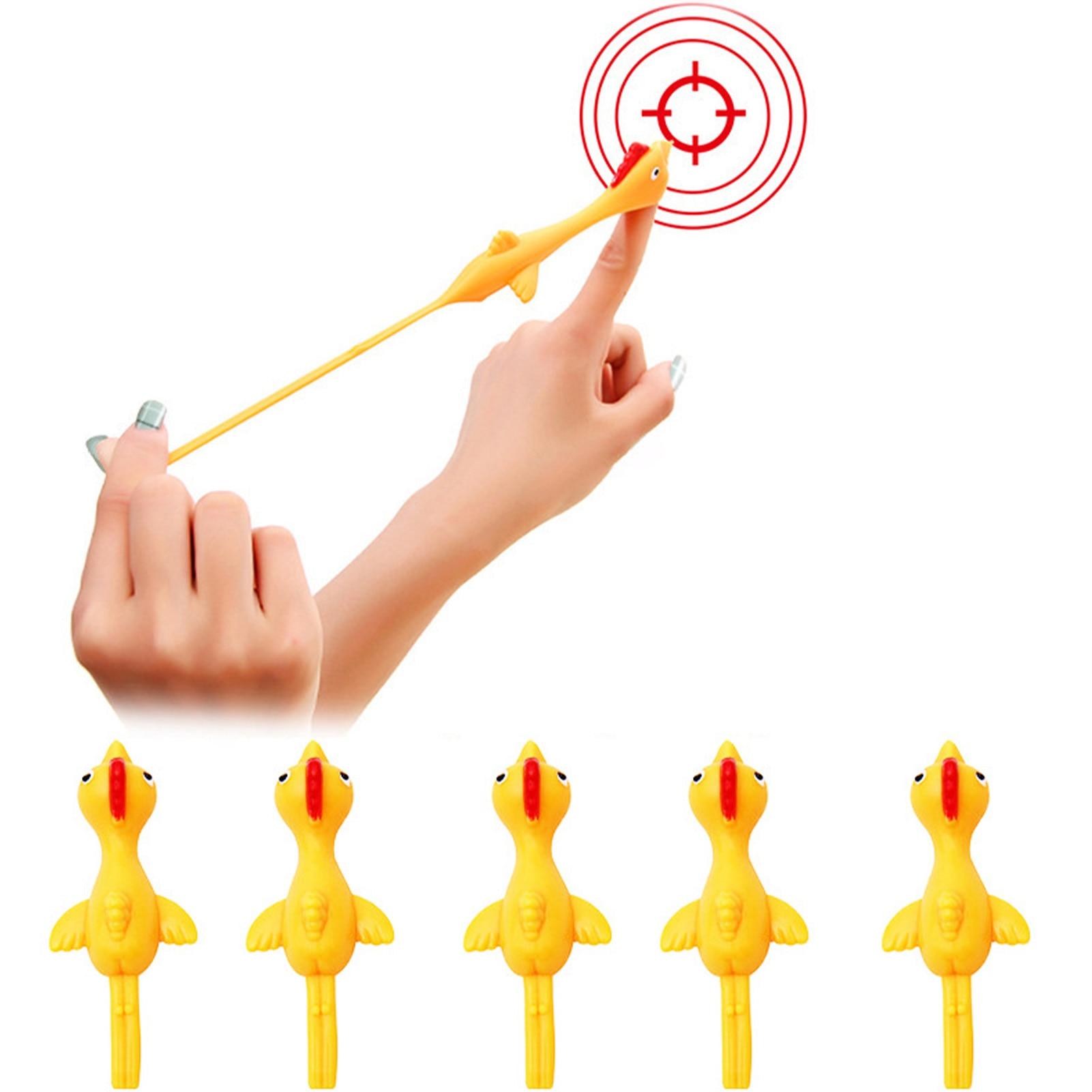 5Pcs Slingshot Chicken Toy Fidget Toys Kids Autism Puzzles Classic Sensory Toy Rubber Flick Flying Chicken Flingers