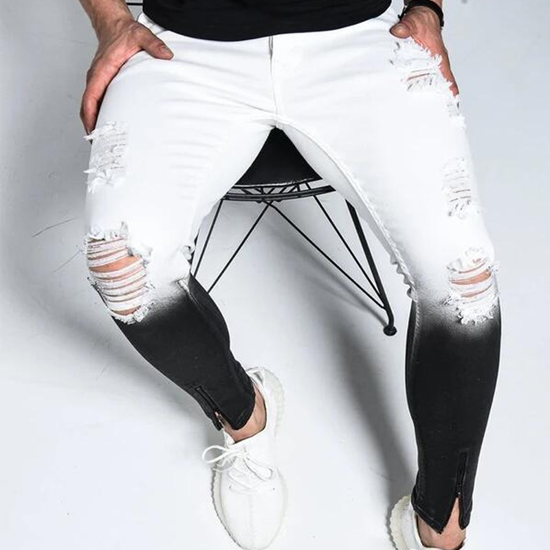 Модные мужские обтягивающие рваные джинсы, Мужские зауженные джинсовые брюки, уличная одежда, градиентные белые черные обтягивающие джинс...