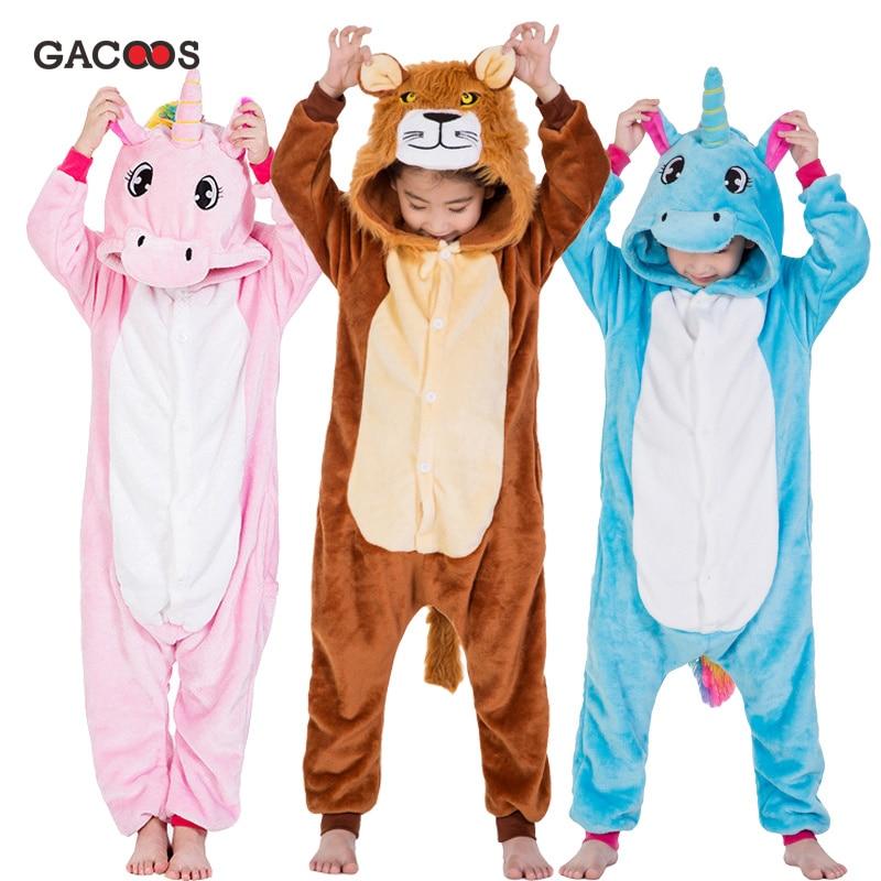 Nuevos pijamas Kugurumi unicornio niños animales niños pijamas para chicos niñas pijamas de bebé Stitch onesies De León invierno niñas ropa de dormir