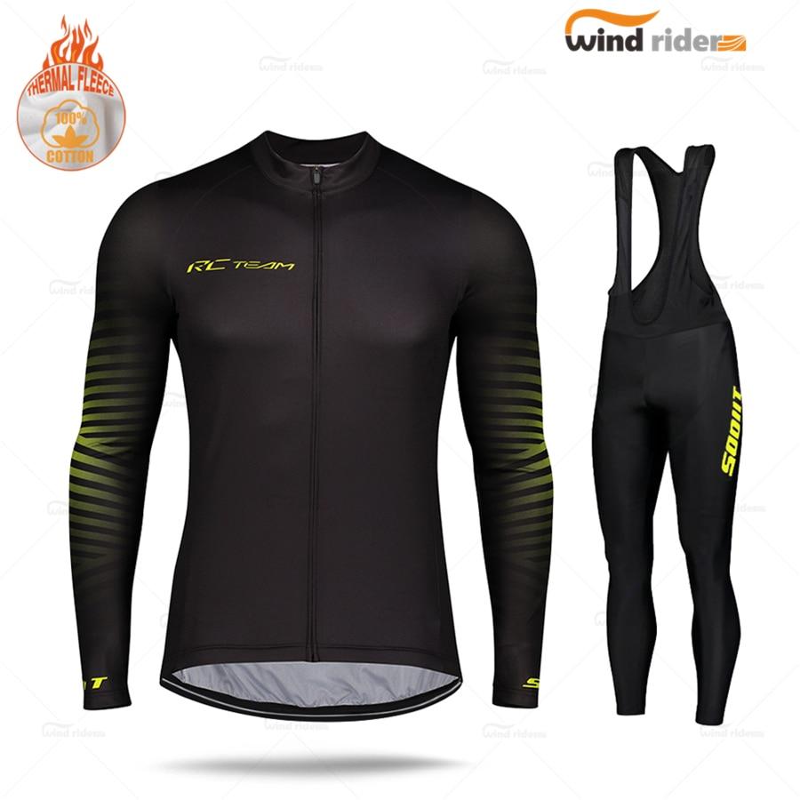 Long Sleeve Scottful Men Cycling Jersey set Pro Team Winter Road Bike Uniform Thermal Fleece MTB Sports Suit