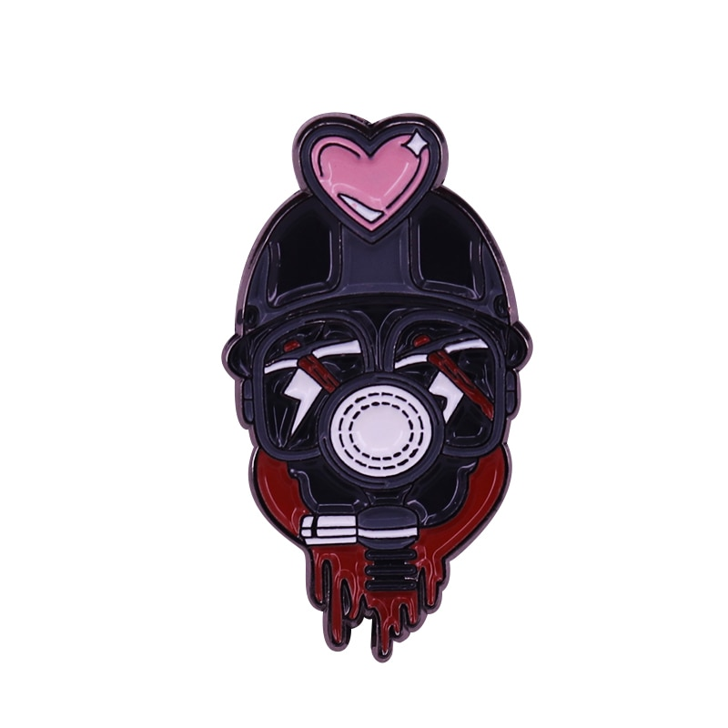 My Bloody Valentine badge with pink heart perfect for any spooky pin collector!