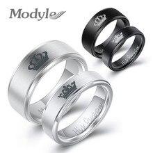 Modyle mode acier inoxydable Couple anneaux noir couronne son roi sa reine Couple bijoux anniversaire saint valentin cadeaux