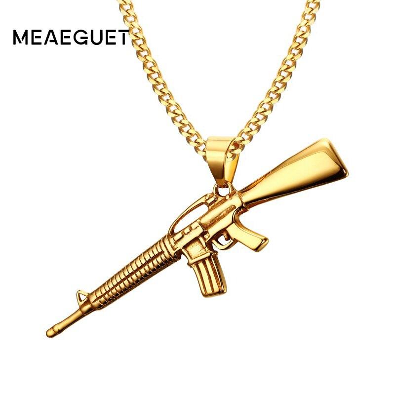 Meaeguet Gold-farbe Edelstahl M4-A1 Gun Gewehr Iced-Out Anhänger Halskette Punk Rock Fahrrad Military Fashion Schmuck