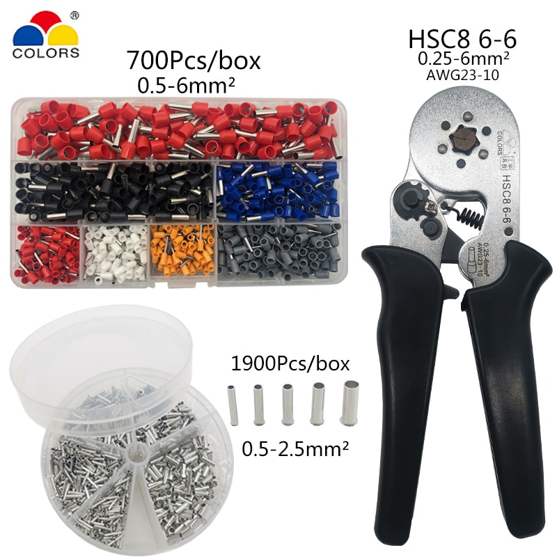 Hsc8 6-6 friso alicate crimper terminal tubular 0.25-6mm2 crimper terno ferramentas manuais ferramenta de friso conjunto de caixa terminal de cobre desencapado