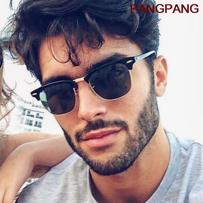 Classic Semi-Rimless Sunglasses Men's Women 2020 Square Polarized Sun glasses Men Oculos De Sol Gafa