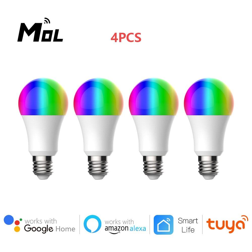 Compatível com o Google Pces Wifi Inteligente Lâmpada Led 9w Pode Ser Escurecido Rgb Tuya App Controle Remoto Casa Alexa 4 E27