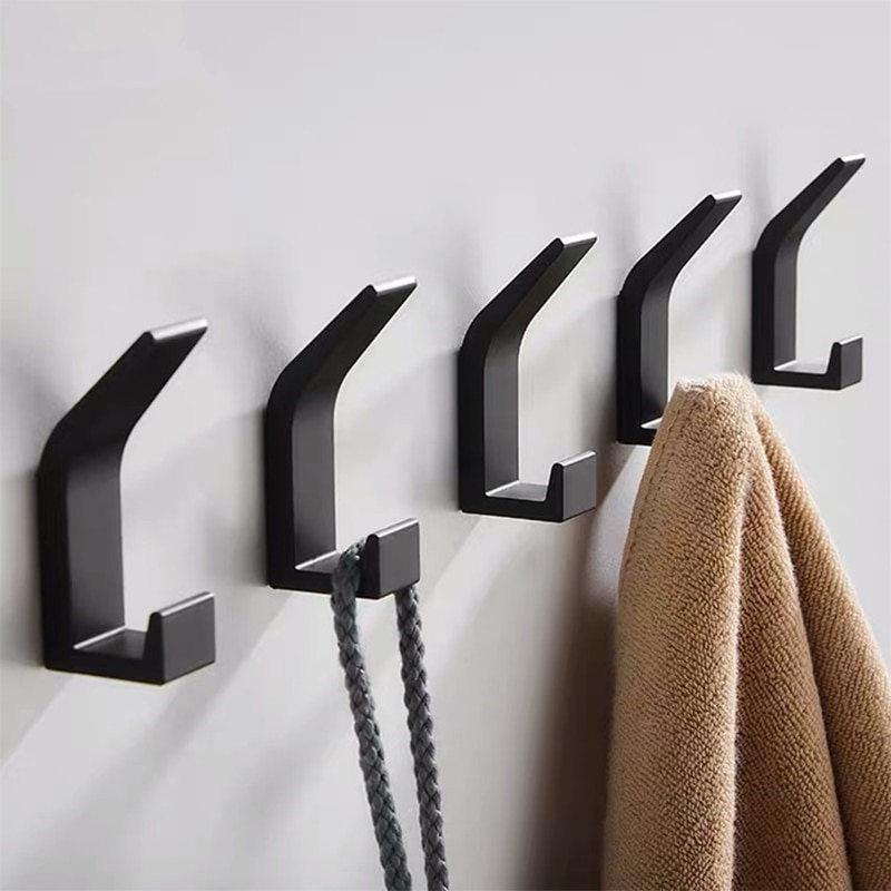 5PCS Double Hook Black White Towel Hook For Bathroom Clothes Hook Bedroom Robe Hook Coat Hook For Livingroom Kitchen Accessories