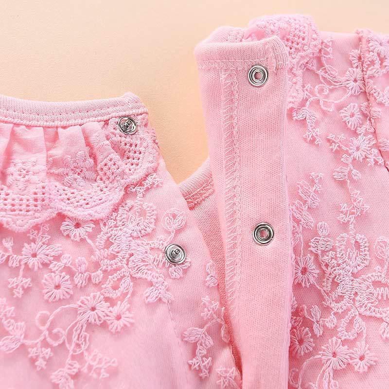 Купить с кэшбэком New Top Fashion Xmas Long Sleeve Red  Pink Lace Romper Dress Newborn Baby Girl  Christmas Sister Princess Kid Party Costume