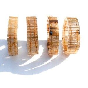 1 Pcs Natural Golden Rutilated Crystal Stone Bracelet