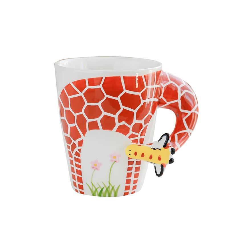 Creative Giraffe Orangutan Ceramic Cup 3D Cartoon Hand Drawn Animal Mug Dog Coffee Cup tazas de ceramica creativas