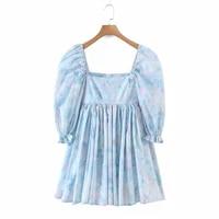 floral print mini dress women new sweet square collar puff short sleeve ruffles pleated a line dress elegant party dress summer
