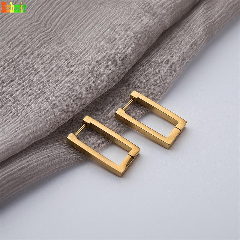 Kshmir-pendientes geométricos rectangulares de oro para mujer, aretes de metal y acero de titanio, aretes de nueva moda 2020