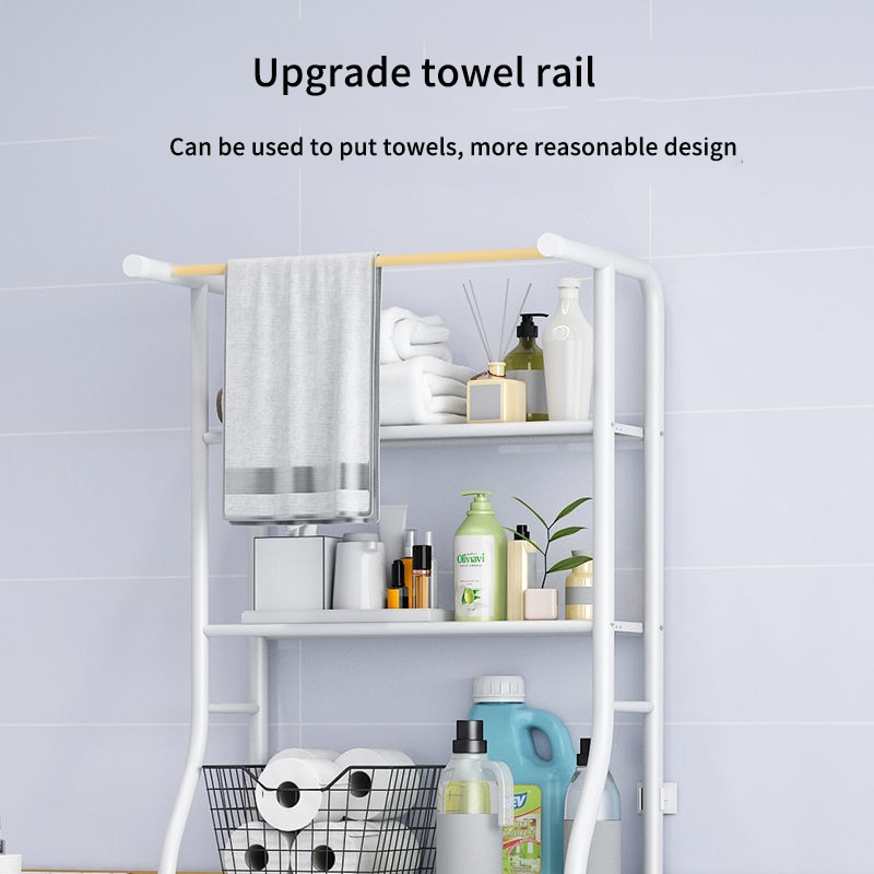 Cordial Shining Bathroom Shelf Toilet Stand Washing Machine Rack Punch-Free Multifunction Thicken Home Storage Rack