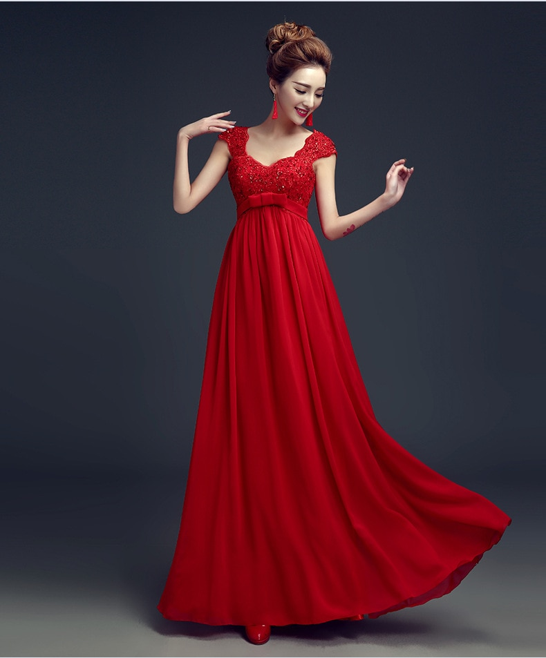 Vestido de noche rojo 2020 nuevo vestido de fiesta embarazada de cintura alta escote con forma de corazón con pedrería vestidos de baile de graduación de lentejuelas gasa una línea vestido Formal