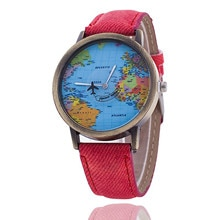 NEW Fashion Retro Belt Quartz Watch zegarek damski Airplane Map flight path Watch Unisex Travel arou