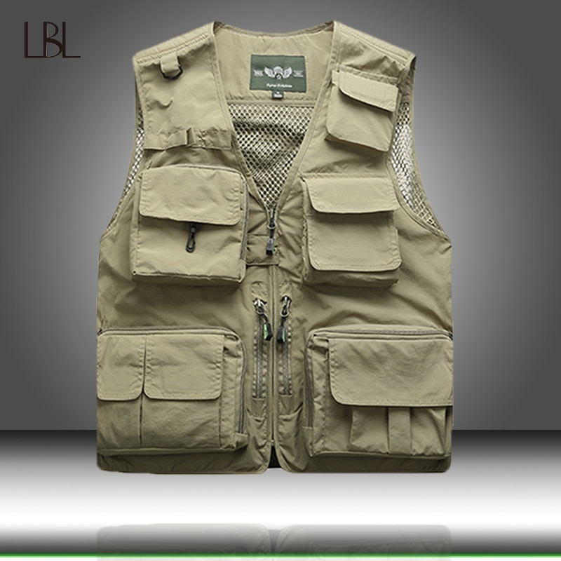 Men Unloading Tactical Vest Coat Fashion Mens Summer Photographer Waistcoat Mesh Work Sleeveless Jacket Tool Many Pocket Vest