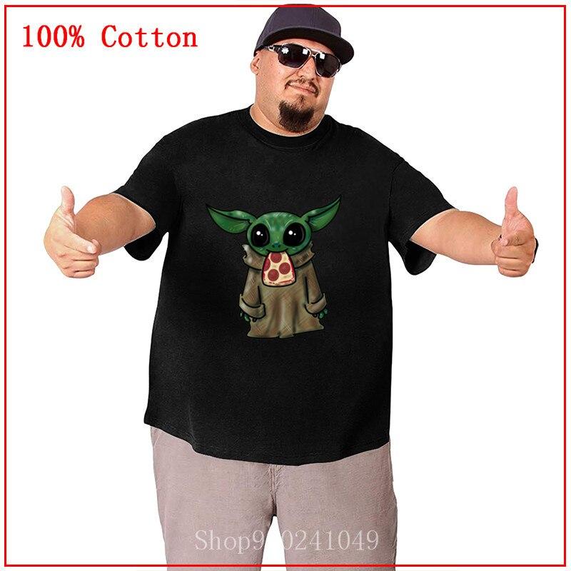 Camiseta bonita de Yoda con Pizza para bebé, camiseta de novedad de Star JEDI Yoda, camiseta de guerra juvenil Kawaii de manga corta, Camisetas de algodón para hombres, Camisetas oversise