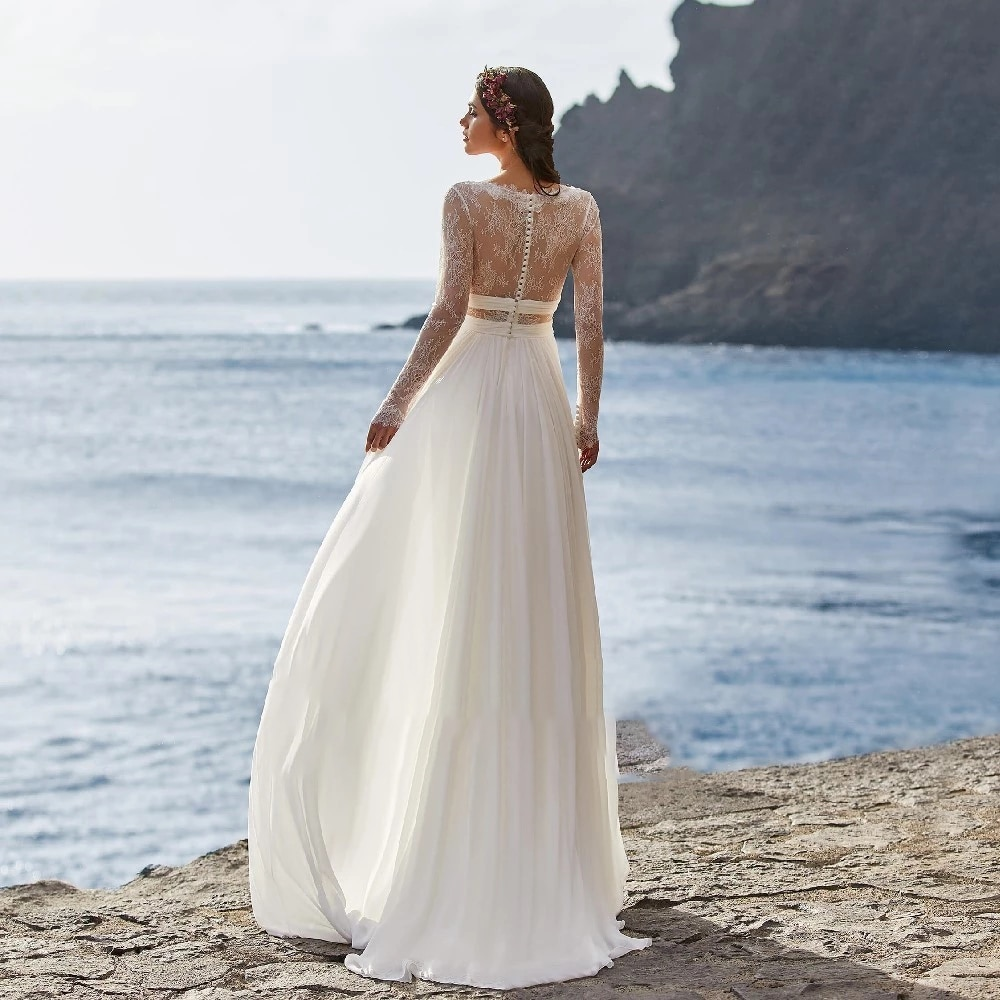 Simplicity Wedding Dresses In Chiffon Beach Full Length V-neck With Full Sleeve Gowns Button Plus Size A La Medida