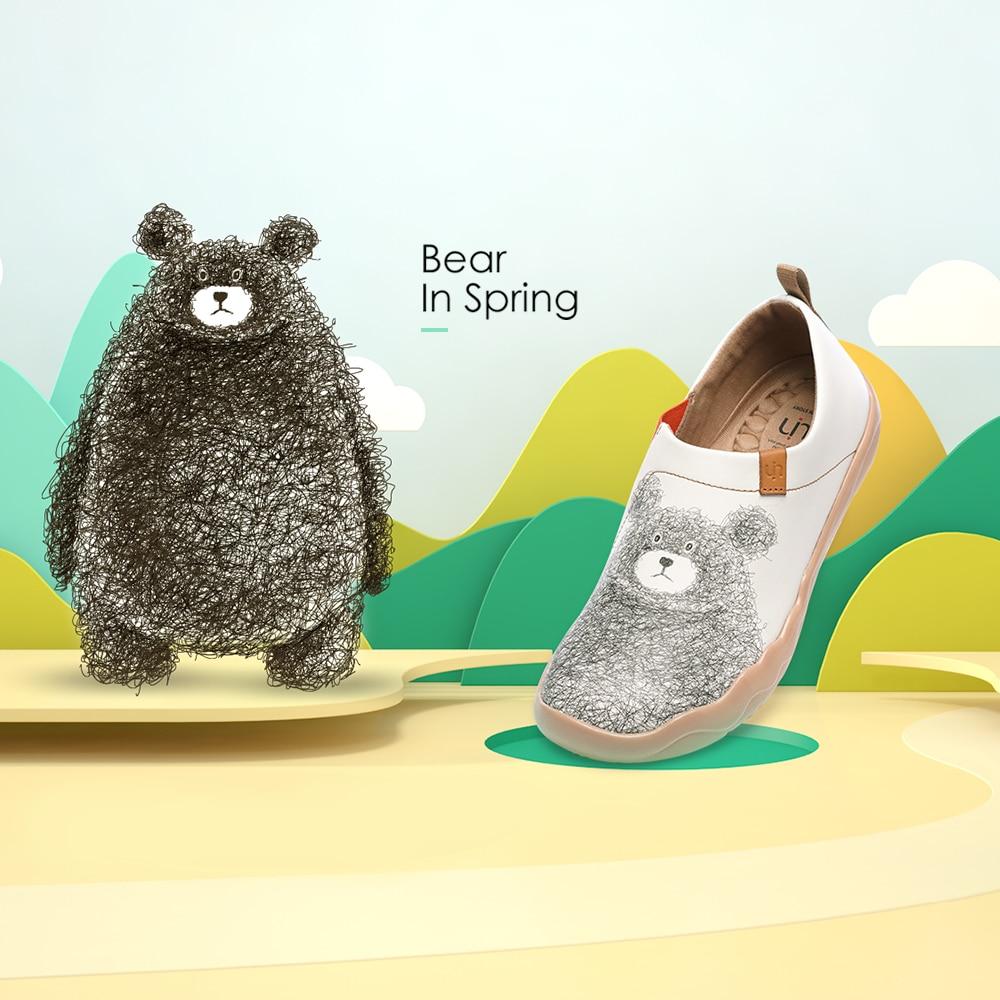 UIN, diseño de oso encantador, zapatos informales para mujer, mocasines de cuero de microfibra, cómodos zapatos para caminar, zapatos planos blancos de moda para mujer