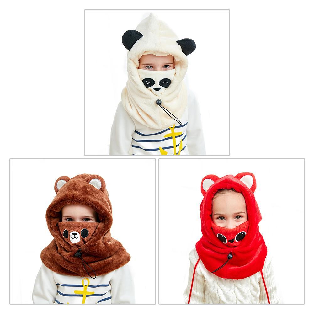 Gorro bufanda con capucha cálida para niños, gorro bufanda gruesa de invierno, para niños, cuello caché, orejeras, gorro de Panda de animales de esquí para niñas y niños