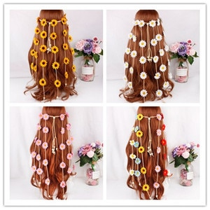 The 2020 new handmade sunflower hair ribbon, Bohemian romantic girl beach holiday bride wedding exquisite hair accessories