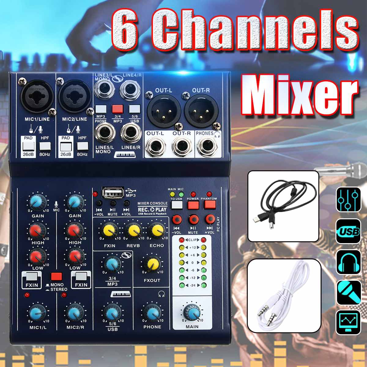 Consola de sonido de Karaoke de 6 canales mezcladora de discos USB 48V Phantom DSP mezclador de Audio USB efecto U disco MP3 para KTV en vivo