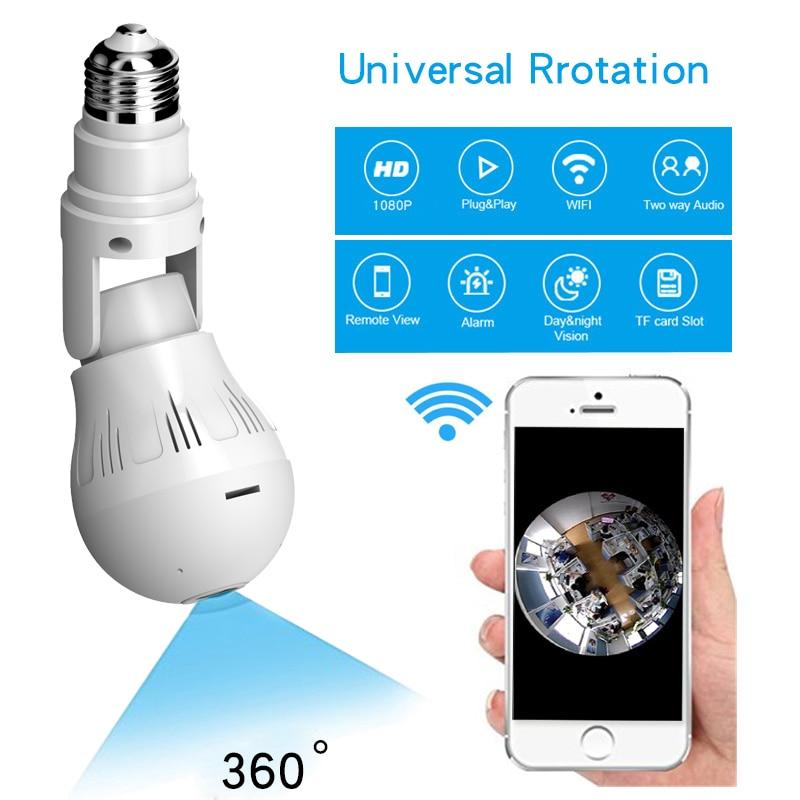 Bombilla LED Cámara 1080P 360 grados VR vista panorámica rotación Universal E27 WIFI oculta espía secreto lámpara Cam luz 6W monitoreo de mascotas Audio bidireccional V380 PRO REMOTE IP DC110V-240V filamento .E27 socke